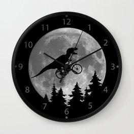 Biker t rex In Sky With Moon 80s Parody Wall Clock
