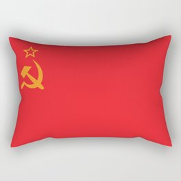 Flag of the Soviet Union. Golden hammer and sickle and the red banner. Rectangular Pillow