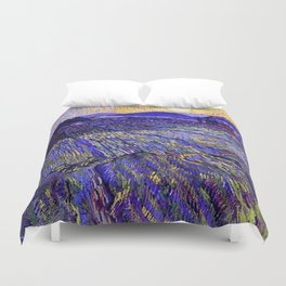 Lavender Fields with Rising Sun by Vincent van Gogh Duvet Cover