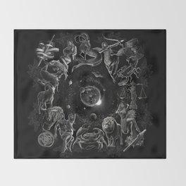 XXI. The World Tarot Card Illustration (Zodiacs) Throw Blanket