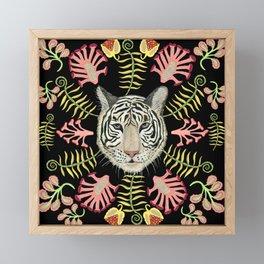 White Tiger Pattern / Black Background Framed Mini Art Print