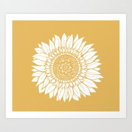 Yellow Sunflower Drawing Art Print