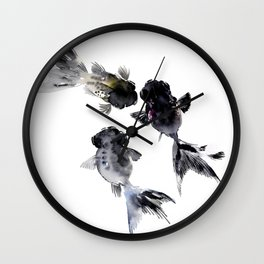 Black Moor, Feng Shui Koi Fish Art, Three Fish black fish decor Wall Clock