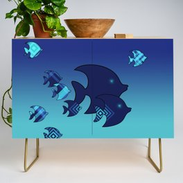 Nine Blue Fish with Patterns Credenza
