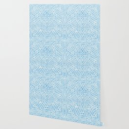 Distressed Light Blue and White Geometrical Pattern Wallpaper