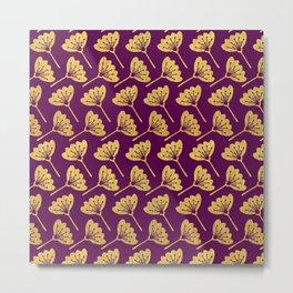 Modern Golden Florals Metal Print