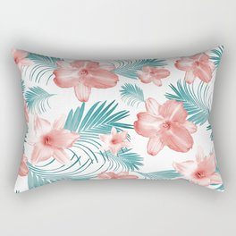 Tropical Flowers Palm Leaves Finesse #2 #tropical #decor #art #society6 Rectangular Pillow