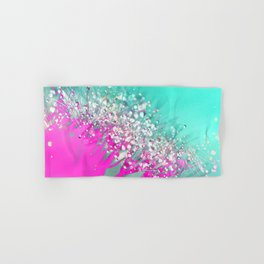 Pink and Turquoise Abstract Digital Photographic Floral Art Hand & Bath Towel