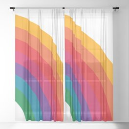 Retro Bright Rainbow - Right Side Sheer Curtain