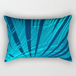 Tropical Blue Fan Palm Leaves Abstract Design Rectangular Pillow