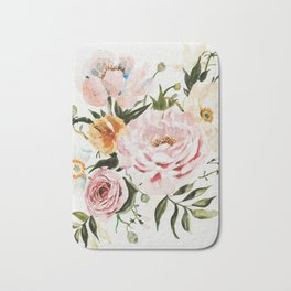Loose Peonies & Poppies Floral Bouquet Bath Mat