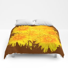 ABSTRACTED COFFEE BROWN   FIRST SPRING YELLOW DANDELIONS Comforters