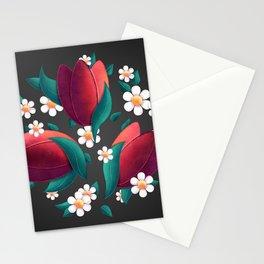 Bouquet (Tulipes et Marguerittes) Noir Stationery Cards