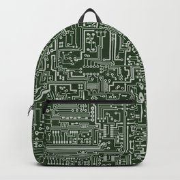 Circuit Board // Green & Silver Backpack