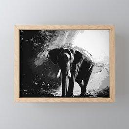 elephant jungle sunray va bw Framed Mini Art Print