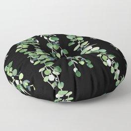 Eucalyptus Sur Fond Noir Floor Pillow