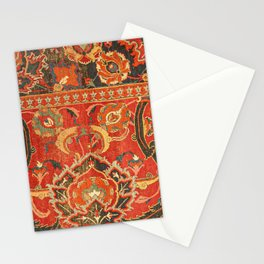 Red Arabic Rug I // 17th Century Colorful Firey Red Light Teal Sapphire Navy Blue Ornate Pattern Stationery Cards