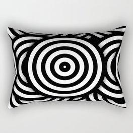 Retro Black White Circles Op Art Rectangular Pillow