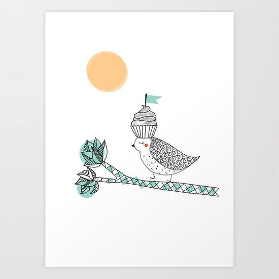 Adventure cake bird Art Print
