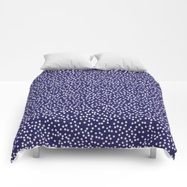 Navy Blue and White Polka Dot Pattern Comforters