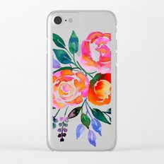 Pink Orange Roses Clear iPhone Case