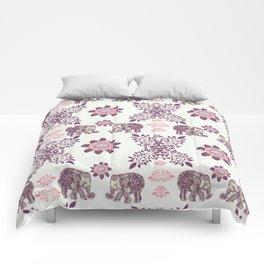 Boho Pink Elephants Comforters