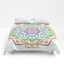 Floral Mandala A - Rainbow Line Comforters