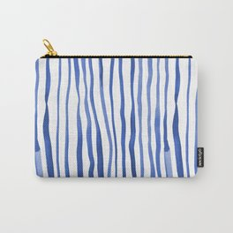Vertical watercolor lines - blue Carry-All Pouch