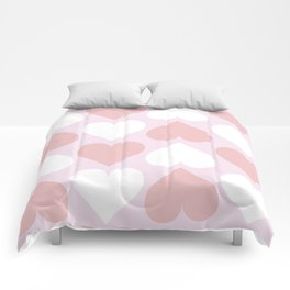 Big Heart Pattern - Pink and Living Coral Comforters