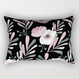Anemones & Olives black Rectangular Pillow