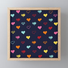 Colorful Hearts Framed Mini Art Print