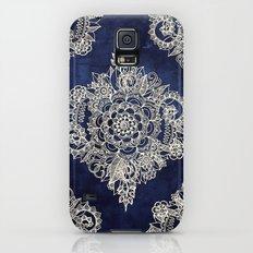 Cream Floral Moroccan Pattern on Deep Indigo Ink Galaxy S5 Slim Case