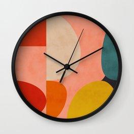 geometry shape mid century organic blush curry teal Wall Clock