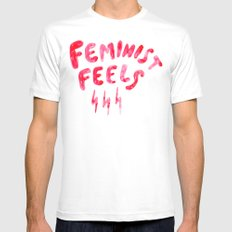 Feminist Feels SMALL White Mens Fitted Tee