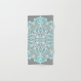 Teal and Aqua Lace Mandala on Grey Hand & Bath Towel