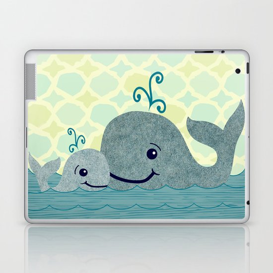 Whale Mom and Baby Laptop & iPad Skin
