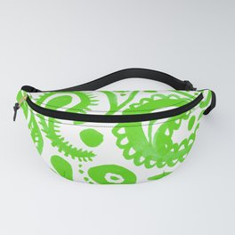 Handpainted Paisley Pattern Green Color Fanny Pack