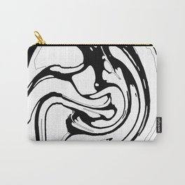 Black, White and Graphic Paint Swirl Pattern Effect Carry-All Pouch