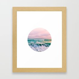 beach ocean circle print Framed Art Print