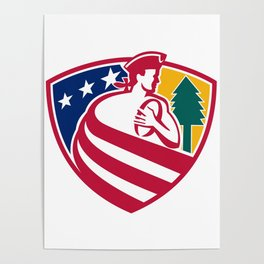 American Patriot Rugby Shield Poster