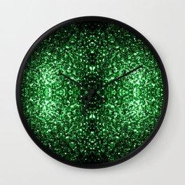 Glamour Dark Green glitter sparkles Wall Clock