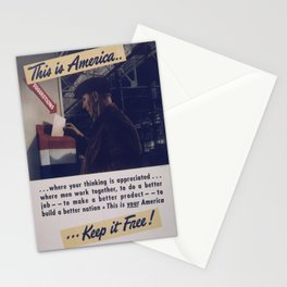 Vintage American World War 2 Poster - This is America: To Build a Better Nation (1943) Stationery Cards