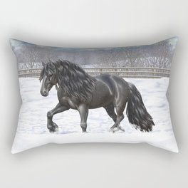 Friesian Horse Trotting In Snow Rectangular Pillow