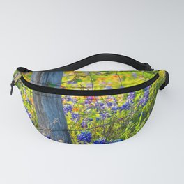 Country Living - Fence Post and Vines Among Bluebonnets and Indian Paintbrush Wildflowers Fanny Pack