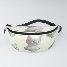 cute girly chic beige white cat pattern Fanny Pack