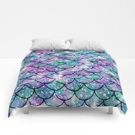 Mermaid Pattern - Aqua & Purple Glitter Texture Comforters