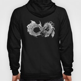 Ouroboros mythical snake on transparent background   Pencil Art, Black and White Hoody
