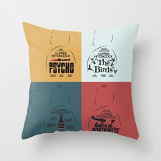 Four Hitchcock Movie Posters in One (Psycho, The Birds, North by Northwest, Notorious) Throw Pillow