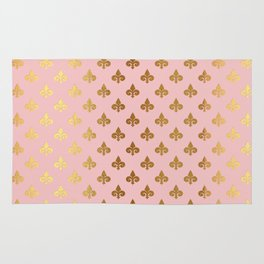 Royal gold ornaments on pink background Rug