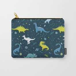 Space Dinosaurs in Bright Green and Blue Carry-All Pouch
